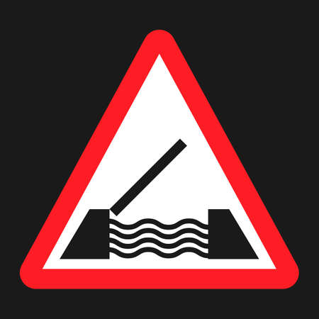danger ahead: Drawbridge ahead sign flat icon, Traffic and road sign, vector graphics, a solid pattern on a black background, eps 10