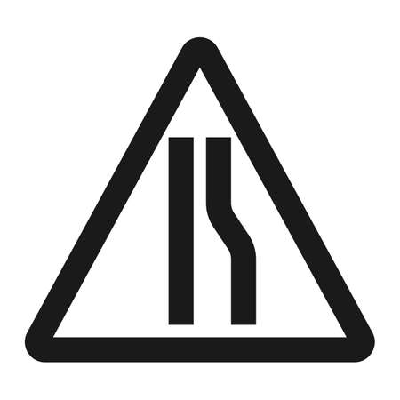 narrows: Road Narrows ahead sign line icon, Traffic and road sign, vector graphics, a solid pattern on a white background, eps 10 Illustration