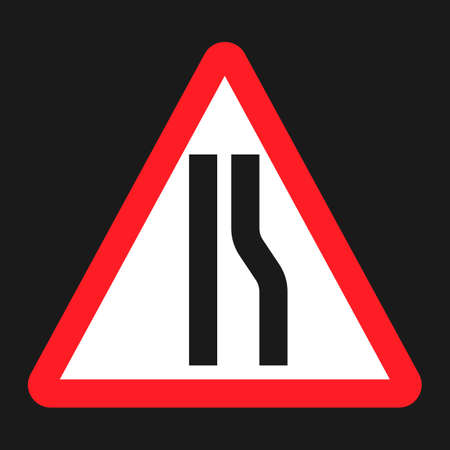 Road Narrows ahead sign flat icon, Traffic and road sign, vector graphics, a solid pattern on a black background, eps 10