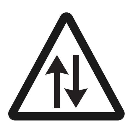 dangerous: Two way traffic sign line icon, Traffic and road sign, vector graphics, a solid pattern on a white background, eps 10