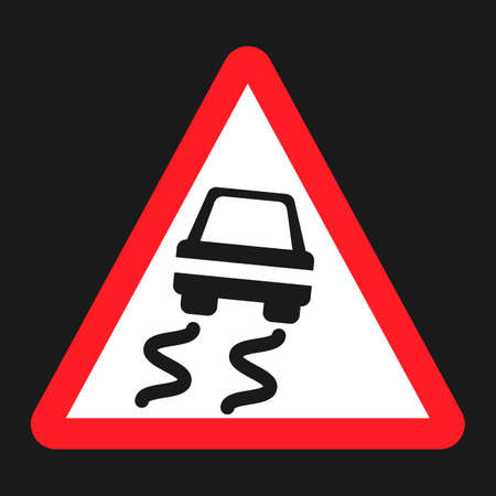 skid: Slippery road sign flat icon, Traffic and road sign, vector graphics, a solid pattern on a black background, eps 10 Illustration
