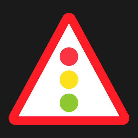 danger ahead: Traffic signal ahead sign flat icon, Traffic and road sign, vector graphics, a solid pattern on a black background, eps 10