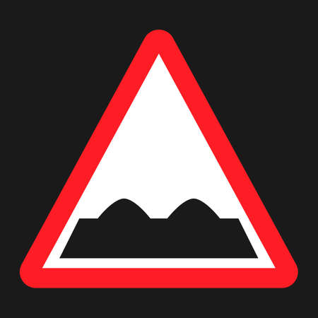 Rough road sign flat icon, Traffic and road sign, vector graphics, a solid pattern on a black background, eps 10