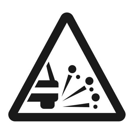느슨한 chippings 및 자갈 선 아이콘, 트래픽 및도 표지판, 벡터 그래픽, 흰색 배경에 단색 패턴, 분기 EPS 10