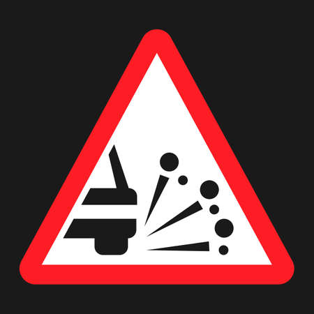 Loose chippings and gravel flat icon, Traffic and road sign, vector graphics, a solid pattern on a black background, eps 10 Illustration
