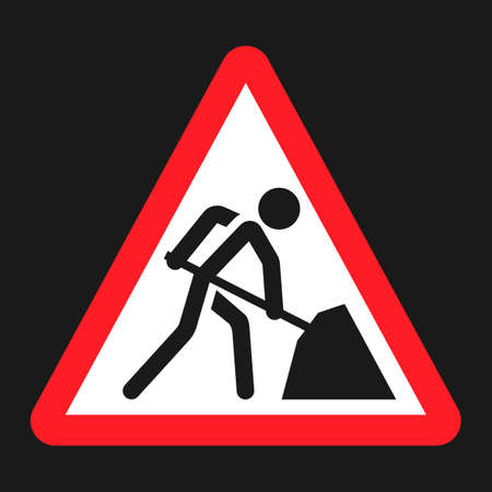 Road works sign flat icon, Traffic and road sign, vector graphics, a solid pattern on a black background, eps 10 Illustration