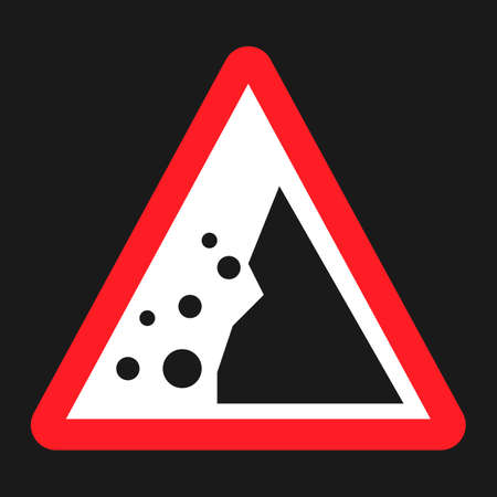 conquering adversity: Falling rocks sign flat icon, Traffic and road sign, vector graphics, a solid pattern on a black background, eps 10