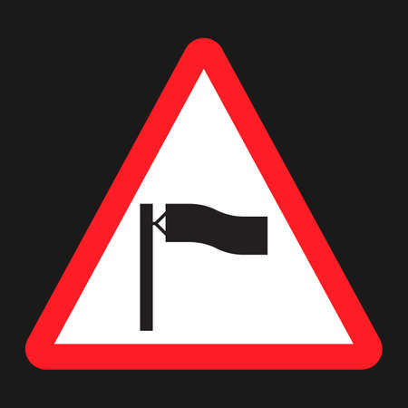 Warning wind sign flat icon, Traffic and road sign, vector graphics, a solid pattern on a black background, eps 10