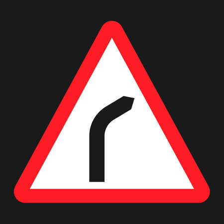 hazardous sign: Bend to right warning sign flat icon, Traffic and road sign, vector graphics, a solid pattern on a black background, eps 10