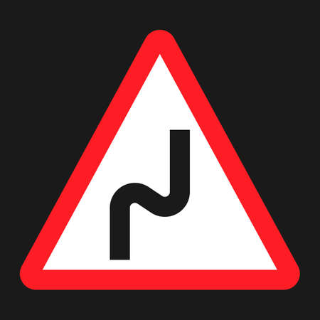 Dangerous double bend sign flat icon, Traffic and road sign, vector graphics, a solid pattern on a black background, eps 10