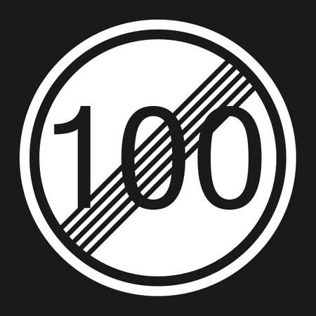 End maximum speed limit 100 sign flat icon, Traffic and road sign, vector graphics, a solid pattern on a black background, eps 10