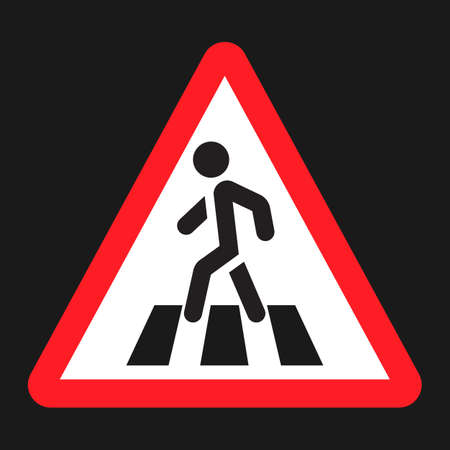 Pedestrian crossing and crosswalk sign flat icon, Traffic and road sign, vector graphics, a solid pattern on a black background, eps 10 Illustration