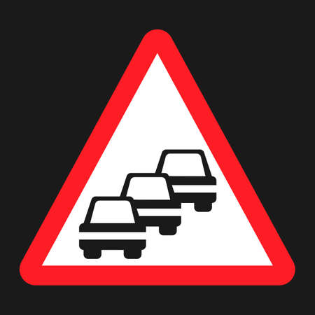 danger ahead: Traffic Congestion sign flat icon, Traffic and road sign, vector graphics, a solid pattern on a black background, eps 10