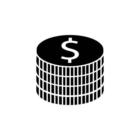 shiny metal: Coins solid icon, finance and business, dollar sign vector graphics, a filled pattern on a white background, eps 10.