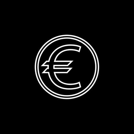shiny metal: Euro coin line icon, finance and business, euro sign vector graphics, a linear pattern on a black background, eps 10.