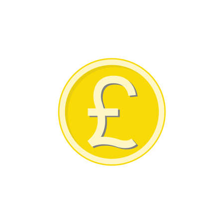 shiny metal: Gold Pound sterling coin flat icon, finance and business, Pound sign vector graphics, a colorful solid pattern on a white background, eps 10.