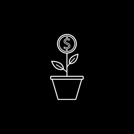 Money plant line icon, finance and business, start up and economic growth vector graphics, a linear pattern on a black background, eps 10.