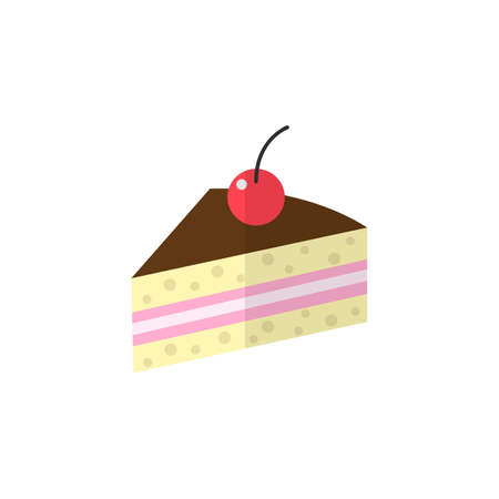 Cake flat icon, food drink elements, sweets sign, a colorful solid pattern on a white background, eps 10.