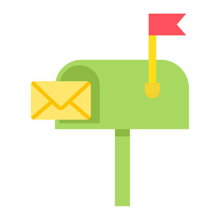 Mailbox flat icon, letter and website button, vector graphics, a colorful solid pattern on a white background, eps 10.