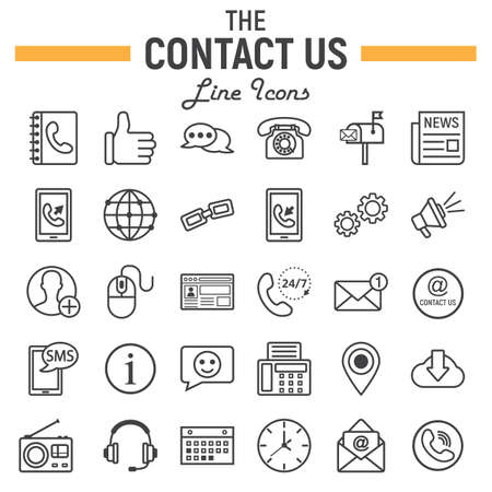 Contact us line icon set, web button symbols collection, mobile and support vector sketches, logo illustrations, linear pictograms package isolated on white background, eps 10.