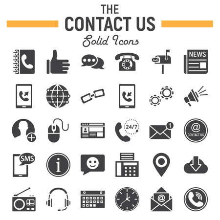Contact us solid icon set, web button symbols collection, mobile and support vector sketches, logo illustrations, filled pictograms package isolated on white background, eps 10.