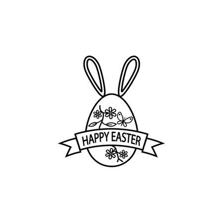 Happy easter egg with ribbon bunny ears line icon Illustration