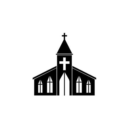 Church solid icon, religion building elements