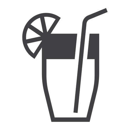 Cocktail solid icon, food and drink vector graphics, a filled pattern on a white background Illustration