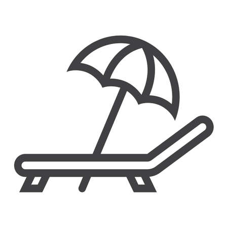 recliner: Beach umbrella with deckchair line icon, Travel and tourism, vector graphics, a linear pattern on a white background