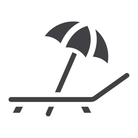 Beach umbrella with deckchair solid icon, Travel and tourism, vector graphics, a filled pattern on a white background 向量圖像