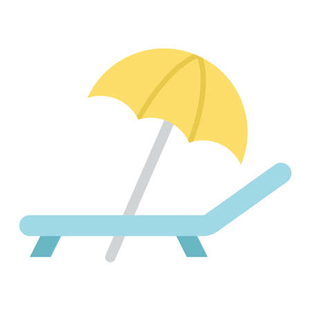 daybed: Beach umbrella with deckchair flat icon, Travel and tourism, vector graphics, a colorful solid pattern on a white background Illustration