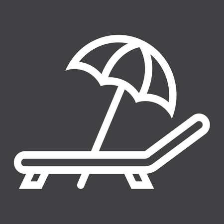 Ombrellone con icona linea sdraio, viaggi e turismo, grafica vettoriale, un modello lineare su uno sfondo nero