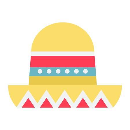 sombrero de charro: Sombrero icono de sombrero mexicana plana, de viajes y turismo, gráficos vectoriales, un patrón de colores sólidos sobre un fondo blanco