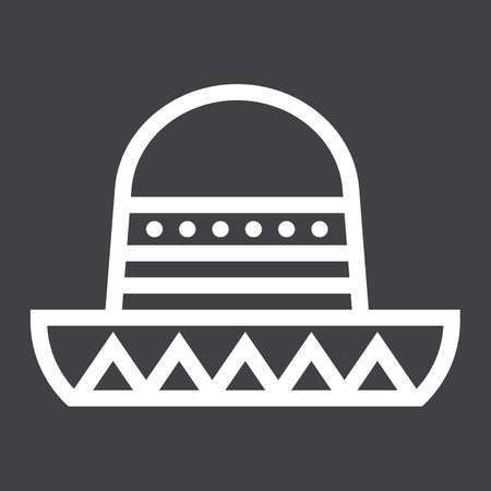 Sombrero Mexican hat line icon, Travel and tourism, vector graphics, a linear pattern on a black background