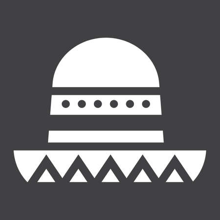 Sombrero Mexican hat solid icon, Travel and tourism, vector graphics, a filled pattern on a black background