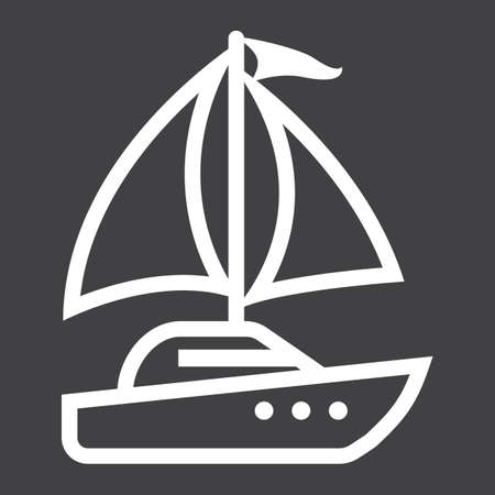 Yacht line icon, Travel and tourism vector graphics, a linear pattern on a black background Illustration