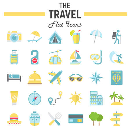 excursions: Travel flat icon set, tourism symbols collection, transportation vector sketches, illustrations, colorful pictograms package isolated on white background