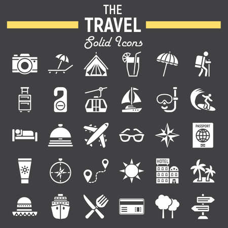 Travel solid icon set, tourism symbols collection, transportation vector sketches, illustrations, filled pictograms package isolated on black background  イラスト・ベクター素材