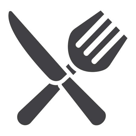 Fork and Knife solid icon, dinner and restaurant, vector graphics, a filled pattern on a white background