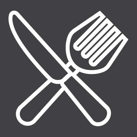 Fork and Knife line icon, dinner and restaurant, vector graphics, a linear pattern on a black background