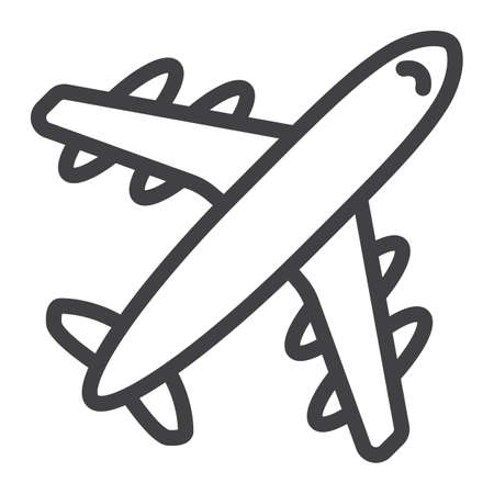 Airplane line icon, travel and transport, aircraft vector graphics, a linear pattern on a white background