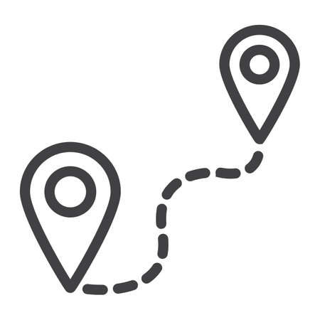 Distance line icon, navigation and route, map pointer vector graphics, a linear pattern on a white background Ilustrace