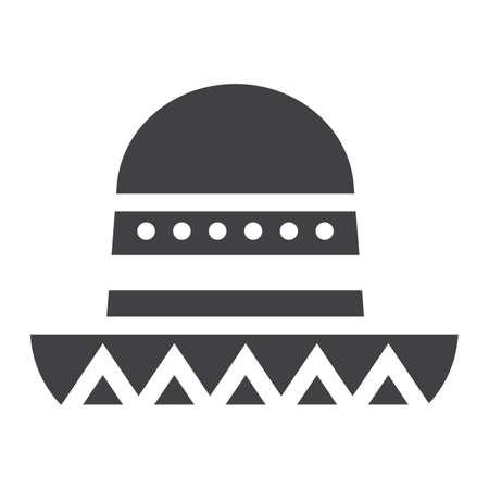 Sombrero sombrero mexicano icono, Viajes y turismo, gráficos vectoriales, un patrón lleno sobre un fondo blanco