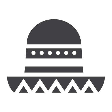 Sombrero Mexican hat solid icon, Travel and tourism, vector graphics, a filled pattern on a white background Illustration