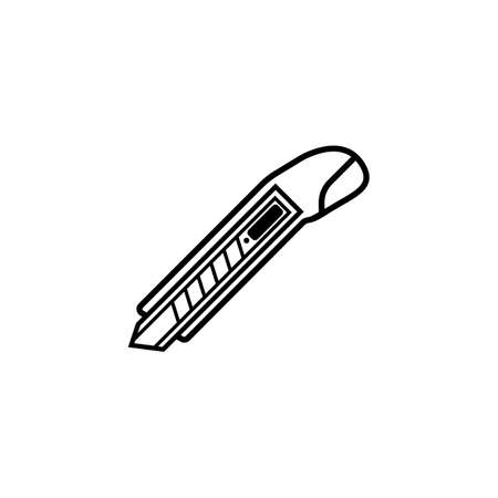 box cutter: Box cutter line icon, build repair elements, construction tool, a linear pattern on a white background, eps 10.