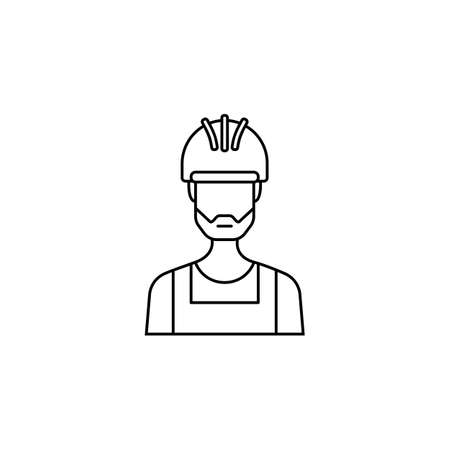 Builder line icon, build repair, construction workers, a linear pattern on a white background, eps 10.