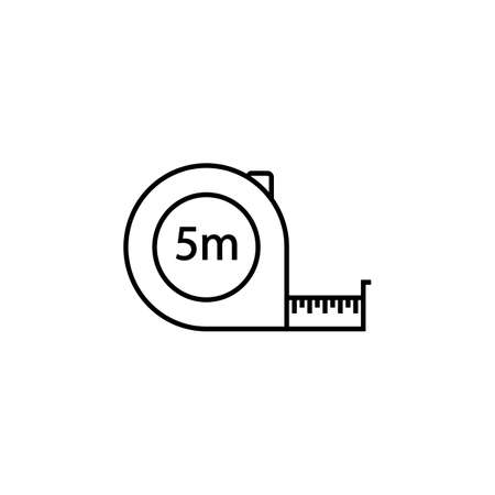 Tape measure line icon, build repair elements, construction tool, a linear pattern on a white background, eps 10.