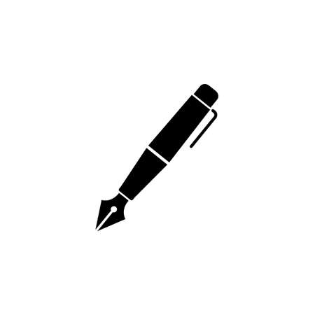 Fountain pen solid icon, education and school element, ink pen vector graphics, a filled pattern on a white background, eps 10. Illustration