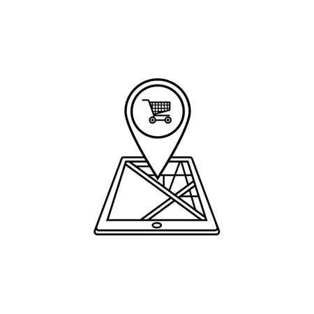 Shopping cart map pointer line icon, mobile gps Illustration