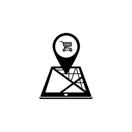 gps device: Shopping cart map pointer solid icon, mobile gps
